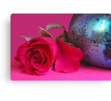 A still life with a colorful rose Canvas Print