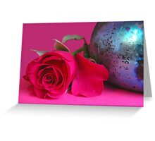 A still life with a colorful rose Greeting Card