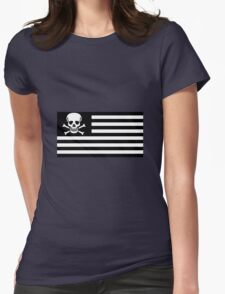 American Flag Pirate Flag Womens Fitted T-Shirt
