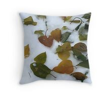 Lilac Leaves On Snow  Throw Pillow