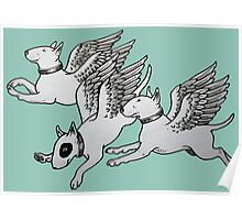 Flying Bull Terriers Poster