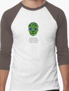 Affirmation Skull: Green Men's Baseball ¾ T-Shirt