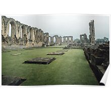 View of ruined nave from SW corner of old church Monastery Bylands North Yorkshire England 198406020004 Poster