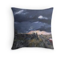storm,country road Throw Pillow