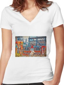 Sunny Day.  Comerica Park.  Perfect. Women's Fitted V-Neck T-Shirt