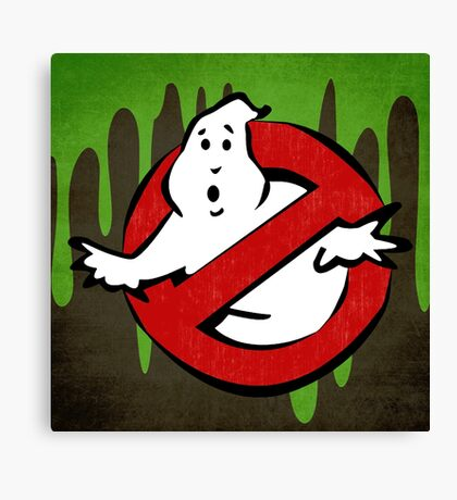 """I Ain't Afraid of No Ghost"" Ghostbusters Stay Puft Mashmallow Man Green Slime Slimer Canvas Print"