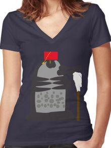 dalek fez and mop Women's Fitted V-Neck T-Shirt