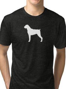 Boxer Dog Silhouette(s) Floppy Ears Tri-blend T-Shirt