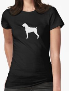 Boxer Dog Silhouette(s) Floppy Ears Womens Fitted T-Shirt
