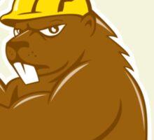Beaver Lumberjack Wielding Ax Circle Cartoon Sticker
