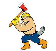 Beaver Lumberjack Wielding Ax Cartoon by patrimonio