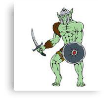 Orc Warrior Sword Shield Cartoon Canvas Print