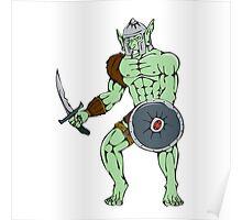 Orc Warrior Sword Shield Cartoon Poster