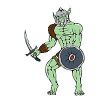 Orc Warrior Sword Shield Cartoon Photographic Print