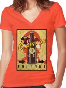 Atom Crusher Beer Women's Fitted V-Neck T-Shirt