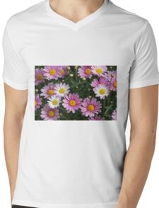 pink daisy Mens V-Neck T-Shirt