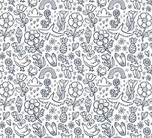 Summertime black floral seamless pattern  by stolenpencil