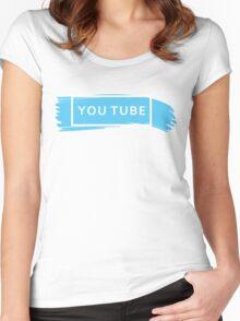 White YOUTUBE (TRXYE insp) Women's Fitted Scoop T-Shirt