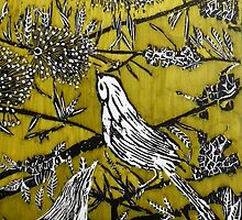 """Australian Bird Woodcut 2 (Pale Olive) by Belinda """"BillyLee"""" NYE (Printmaker)"""