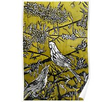 Australian Bird Woodcut 2 (Pale Olive) Poster