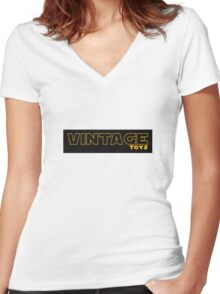 Vintage Toys Logo in STAR WARS style Women's Fitted V-Neck T-Shirt