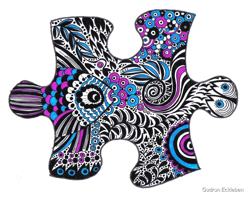 Fishy bubbles in a puzzle by Gudrun Eckleben