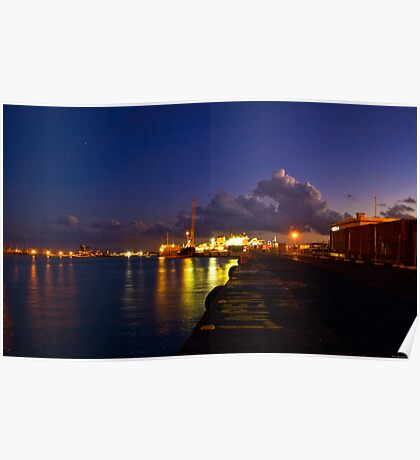 lights at the port of Catania Poster