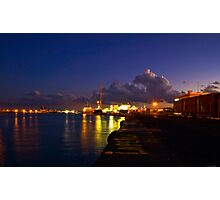 lights at the port of Catania Photographic Print