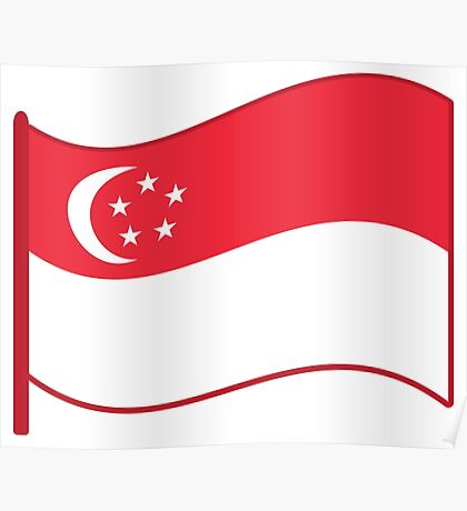 Flying flag of Singapore Poster