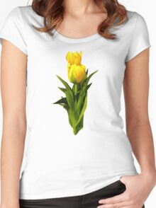 Yellow Tulips Tall and Short Women's Fitted Scoop T-Shirt