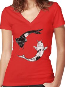 Yin Yang... Women's Fitted V-Neck T-Shirt