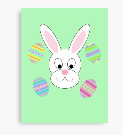 Easter Bunny with Easter Eggs Canvas Print