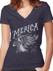 'Merica Eagle Women's Fitted V-Neck T-Shirt