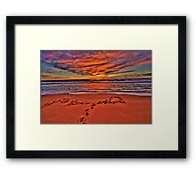 Footprints In The Sand - Newport Beach - The HDR Series Framed Print