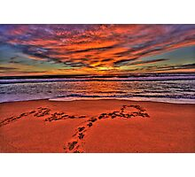 Footprints In The Sand - Newport Beach - The HDR Series Photographic Print