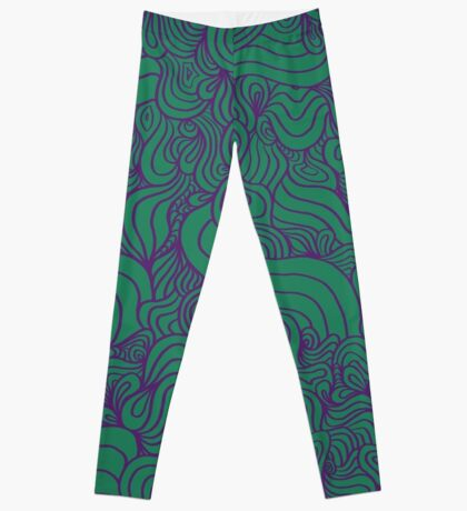 ACID PEACOCK Joker: Emerald Green/Purple Line Design Leggings Leggings