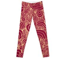 ACID PEACOCK Royal Dress: Deep Red/Gold Line Design Leggings Leggings