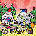 Monster Christmas Teaparty by thickblackoutline