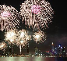 Australia Day fireworks in Perth, 2008 by Adam Branford