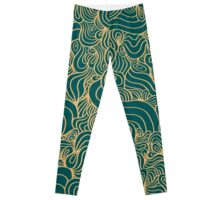 ACID PEACOCK Gilded Emerald: Teal-Green/Gold Line Design Leggings Leggings