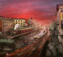 City - NY - Rush hour traffic - 1900 by Mike  Savad