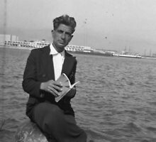 Book + Sea = Perfection - Old Photo of a Man with a book (1940s) by TheyCallMeCCV