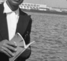 Book + Sea = Perfection - Old Photo of a Man with a book (1940s) Sticker