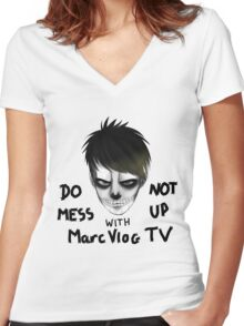 DO NOT MESS UP WITH MARCVLOGTV Women's Fitted V-Neck T-Shirt