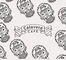 Calavera Cafe Black Skull Logo Pattern by Niki Jacob