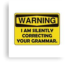 Warning Grammar Canvas Print