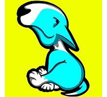 Innocent English Bull Terrier Puppy Aqua and White Photographic Print