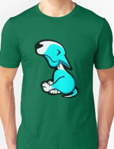 Innocent English Bull Terrier Puppy Aqua and White Unisex T-Shirt