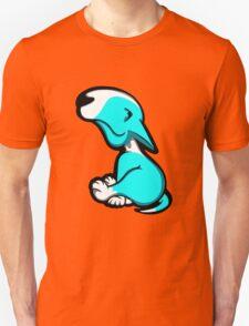 Innocent English Bull Terrier Puppy Aqua and White Unisex T-Shirt