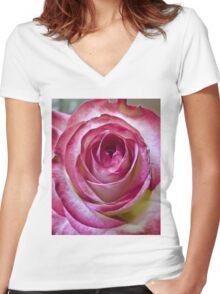 Pink White rose 6 Women's Fitted V-Neck T-Shirt